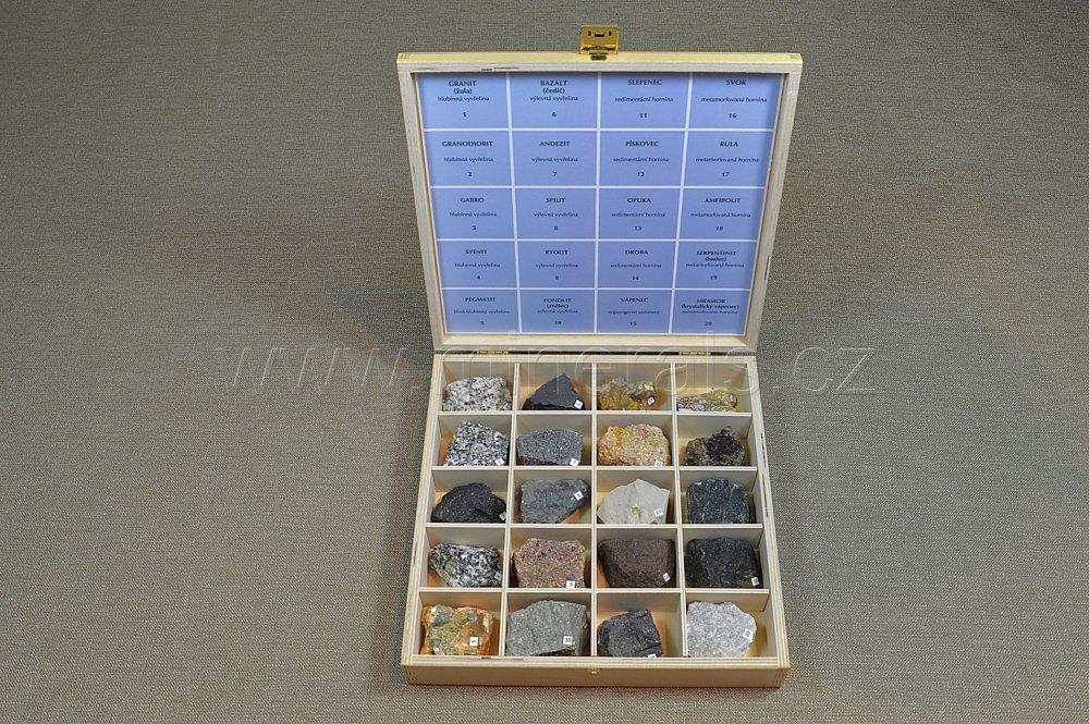 Minerál SADA HORNIN V DŘEVĚNÉ KAZETĚ 20 ks